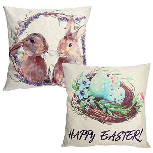 (Easter Throw Pillow Cases 18 x 18 Inches Set of 2, Easter Rabbit Colorful Eggs Pillow Covers for Easter Holiday Party Decoration Spring Cushion Cover Home Sofa Chair Couch Bedroom Decor)