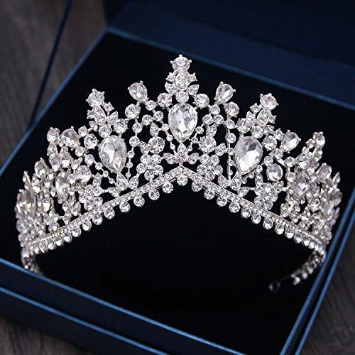(European Green Crystal Tiaras Vintage Black Rhinestone Pageant Crown Bridal Wedding Hair Jewelry Accessories Gift Silver White)