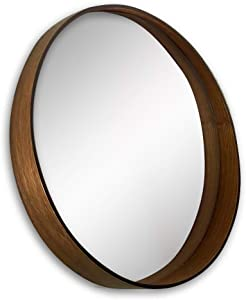 A Rated Trading Round Bamboo Mirror (Dark Brown) - 20 Inches - Vanity Bathroom Mirror - Large Circle Wall Decoration - Storage Ledge - Gorgeous Boho/Rattan/Cane Decor - Scandinavian Living