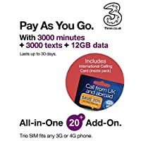 Three UK All-in-one 20+ PAYG Trio SIM Card -3000 minutes, 3000 texts + 12GB data + FREE International Calling Card - (RETAIL PACK)