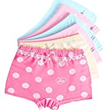 LeQeZe 6 Pack Little Girls Boyshorts Knicker Baby Girl Cotton Lovely Boxer Briefs Hipster Underwear Size 2-11 Years (8-9 Years, Girls Dot 02)