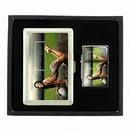 Muddy Soccer Girl Naked Sexy Cigarette Case and Flip Top Oil Lighter Set by Customized Collectables