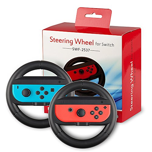QUN FENG Joy-Con Steering Wheel for Nintendo Switch(set of 2)-Black
