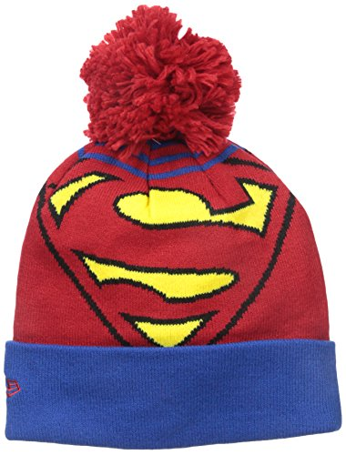 perman Logo whiz Pom Knit Beanie, Red/Blue, One Size (Logo Knit Cap)