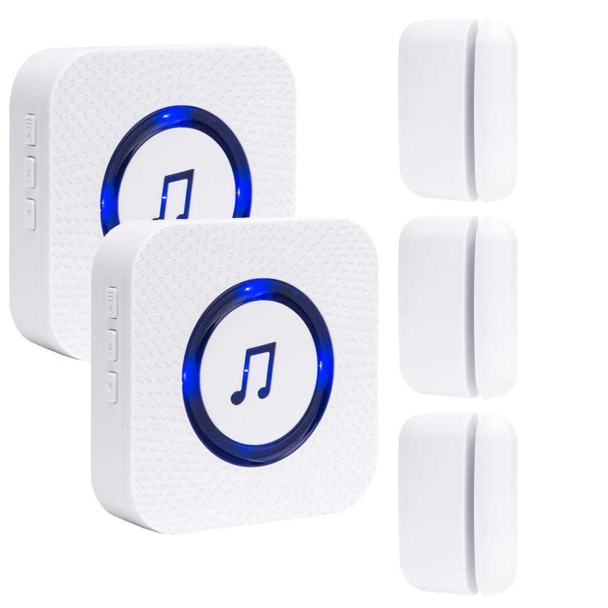 SanJie Wireless Door Open Chime Entry Alert Door Entry Alarm for Business Home Store 52 Ringtones 4 Volume Level 2 Receiver 3 Magnetic Window Sensor
