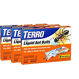 Terro PreFilled Liquid Ant Killer II Baits, 3-Packs of 6 Baits Each 10 Convenient, ready-to-use bait stations with fast-acting formula Liquid ant killer bait station kills all common household ants No drips, spills or mess; for indoor and outdoor use. Place baits near ant trails or where ants are numerous. Use all six baits to enure sufficient supply for the ants.