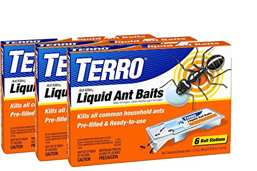 TERRO PreFilled Liquid Ant Killer II Baits, 3-Packs of 6 Baits (Liquid Bait)