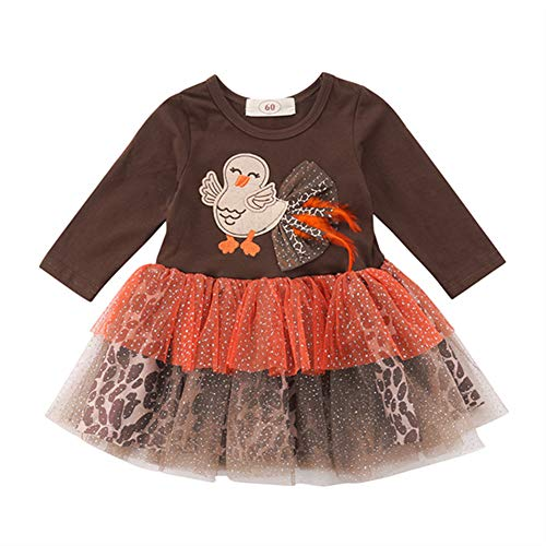 Winagainer Toddler Baby Girl Thanksgiving Outfit Party Tutu Dress Infant Long Sleeve Turkey Leopard Print Clothes 12-18 Months
