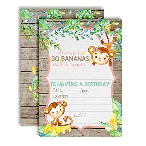 Go Bananas Our Little Monkey Watercolor Jungle Birthday Party Invitations for Girls, 20 5