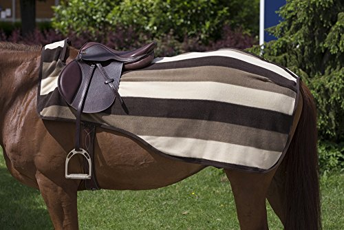 Equi-Theme Stripe Collection Newmarket Fleece Exercise Sheet/Quarter Kidney Rug - 4 Different Colours! (Chocolate/Beige/Sand, 125cm - (Fleece Quarter Sheet)