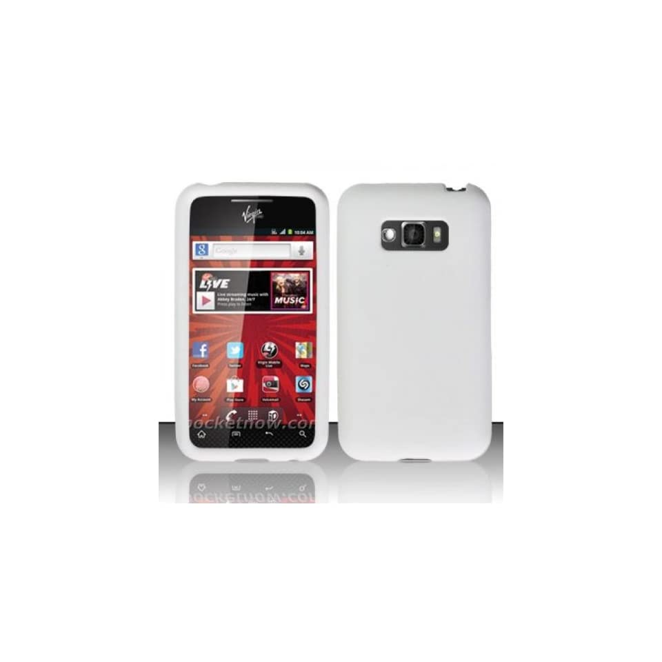 LG Optimus Elite LS696 / Optimus Quest L46c Case Nice White Resilient Rubbery Silicone Flex Protector Cover (Sprint / Straight Talk / Net10 / Virgin Mobile) with Free Car Charger + Gift Box By Tech Accessories