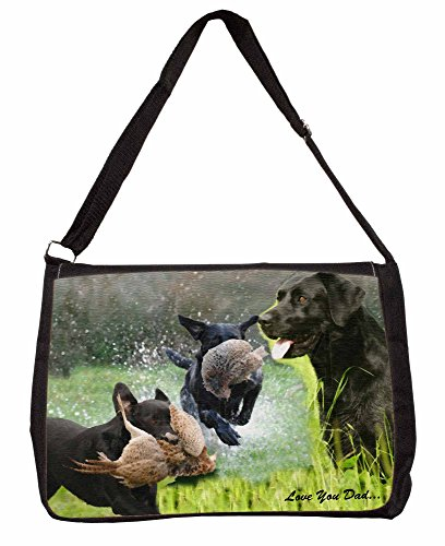 Retrieving Labradors Love You Dad Large 16 Black School Laptop Shoulder Bag tGiRt