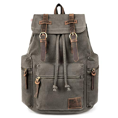 Canvas Backpack, P.KU.VDSL-AUGUR SERIES Vintage Canvas Leather Backpack Hiking Daypacks Computers Laptop Backpacks Unisex Casual Rucksack Satchel Bookbag Mountaineering Bag for Men Women