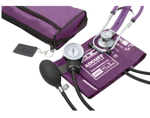 (ADC Pro's Combo II SR Adult Pocket Aneroid/Scope Kit with Prosphyg 768 Blood Pressure Sphygmomanometer and Adscope Sprague 641 Stethoscope with Nylon Carrying Case, Purple)