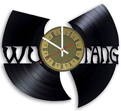 The Wu Tang Clan vinyl record wall clock American rappers clock gift idea for birthday, christmas, women, men, friends, girlfriend boyfriend and teens - living kids room nursery (Gold/White) -