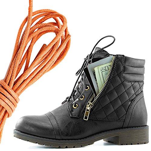Dailyshoes Kvinna Militär Snörning Spänne Bekämpa Stövlar Fotled Hög Exklusiva Kreditkortsficka, Orange Svart Pu
