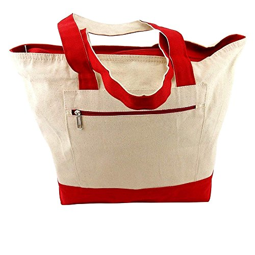 Zippered Canvas Tote Bag, Neutral Tone With Red Accent ~ #LT-3083