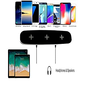 Qi Wireless Charger Triple Pad, 3-Devices Wireless Charging Pad Stand & 2 USB Ports for iPhone X, iPhone 8/8Plus, Samsung Galaxy S8/S8+ S7/S7 Edge Note 8 Note 5, Nexus 5/6/7 & all QI-Enabled Device