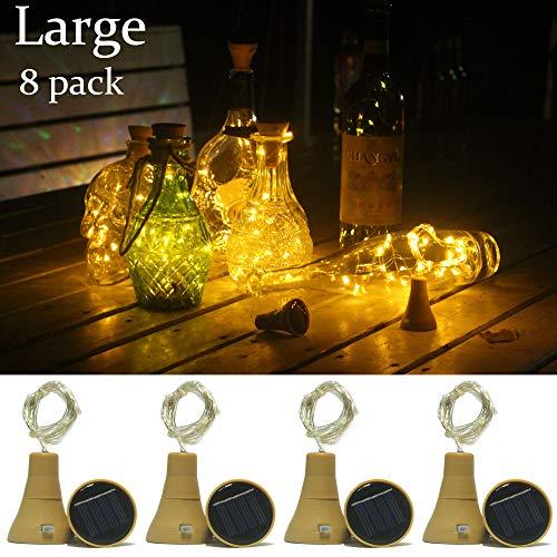 Upgraded version 8 pack solar wine bottle lights,20 leds Waterproof Copper lights,for wedding,outdoor decor(Warm White)
