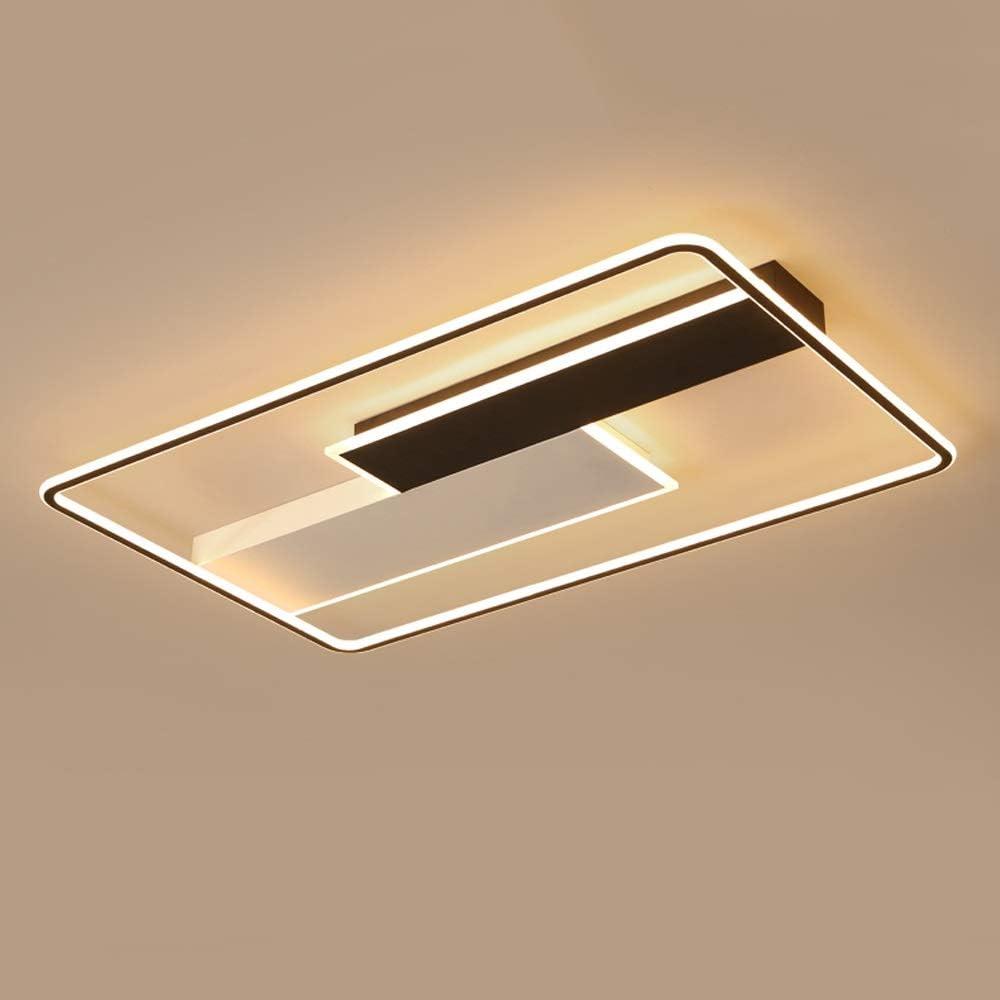 Aiqiyi Nordic Wood Lamp Home Atmosphere Creative Rectangular Salon Lampe Simple Moderne Chambre À Coucher Salle D'étude Ménage Plafond Chaud LED Plafond Lumière Chaude (Taille : 95×62×6cm)