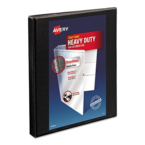 - Avery Heavy-Duty Nonstick View Binder, 1/2 inch Slant Rings, 120-Sheet Capacity, DuraHinge, Black (05233)