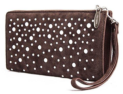 Agata - Borsa pochette da donna in pelle a mano color moro con mezze perle e Swarovski - Passionebags - Made in Italy