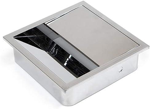 Emuca - Tapa pasacables cuadrada 85x85mm para encastrar en escritorio/mesa, organizador de cables para mueble, plástico cromado: Amazon.es: Bricolaje y herramientas