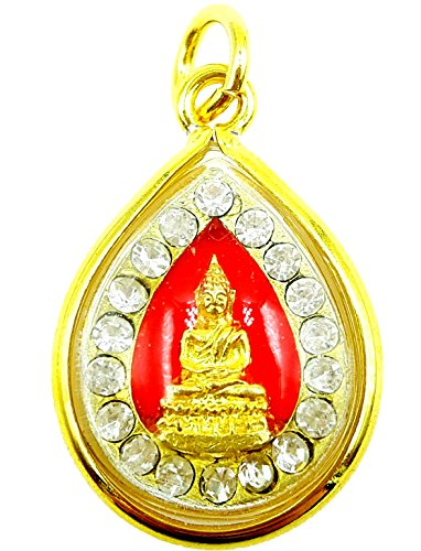 Unique amulet lord buddha gold case for success rich pendant with amulet necklace & (Gold Downrod)