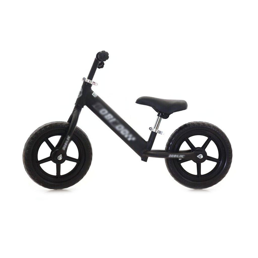 12インチのベビースクーターバランス車が必要インフレペダルがない子供スクーターバギー子供ダブルホイール自転車子供スクーター2ラウンドウォーカー2-6歳 B07F58Q3YQ Black Black