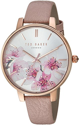 Ted Baker Women's 'KATE' Quartz Stainless Steel and Leather Casual Watch, Color Pink (Model: TE50272004)