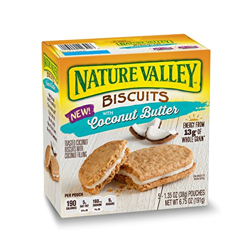 - Nature Valley Biscuits, Coconut Butter, Breakfast Biscuits with Coconut Filling, 5 Pouches, 1.35 oz (Pack of 12)