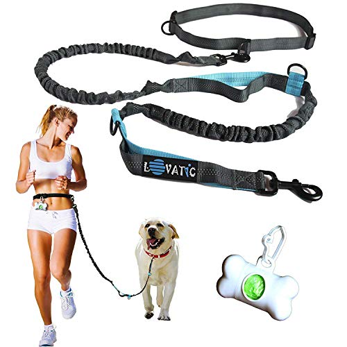 LOVATIC Premium Hands Free Dogs Leashes - Retractable Leash for Dogs - Dual Waist Belt Pets Dog Leash to Run & Walk - Reflective Stitching Adjustable Bungee Leash for Large Dogs