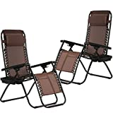 Zero Gravity Chairs Set of 2 Pillow Cup Holder Patio Outdoor Adjustable Dining Reclining Folding Chairs Deck Patio Beach Yard