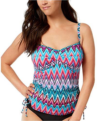 (Swim Solutions Island Sunset Twist Front Underwire Tankini Top (Multicolor, 12))