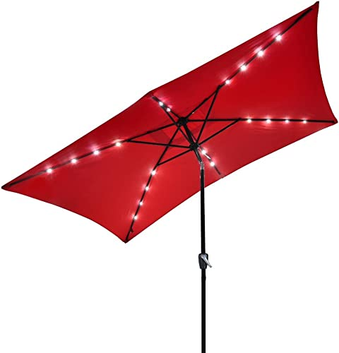Solar LED 10 Ft Tilt Outdoor Rectangular Umbrella RED