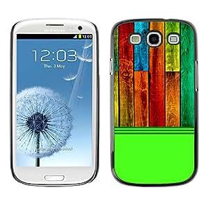 Qstar Arte & diseño plástico duro Fundas Cover Cubre Hard Case Cover para SAMSUNG Galaxy S3 III / i9300 / i747 ( Wood Texture Pattern Green Colorful)