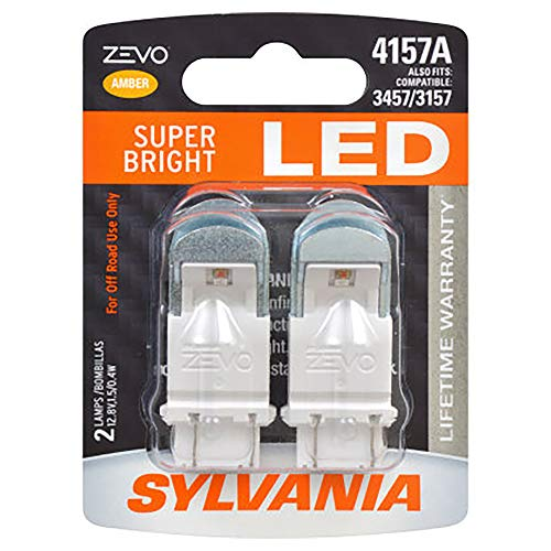 SYLVANIA - 4157 ZEVO LED Amber Bulb - Bright LED Bulb, Ideal for Park and Turn Lights (Contains 2 Bulbs)