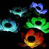 MAARYEE LED Solar Light Lotus Water Lily Lantern Waterproof Float Light Colorful LED Floating Yard Pond Garden Pool wishing Night Light