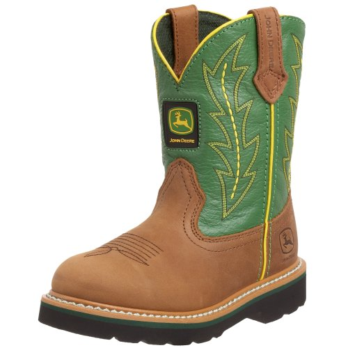 John Deere 2186 Western Boot (Toddler/Little Kid),Tan/Green,12.5 M US Little ()