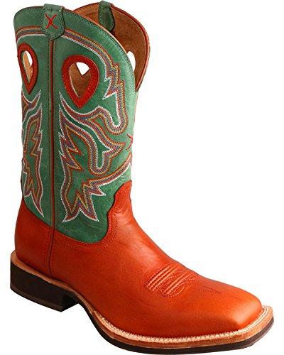 Twisted X Men's Neon Green Horseman Cowboy Boot Square Toe Cognac 9 D(M) US