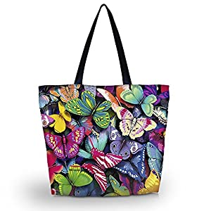 WATERFLY Butterfly Heaven Soft Polyester Composite Fabrics Girls' Women's Lady Durable Handbag Utility Tote Bag Shopping Bag Shoulder Bag Pouch Holder Carrying Bag Sleeve (LB-856)