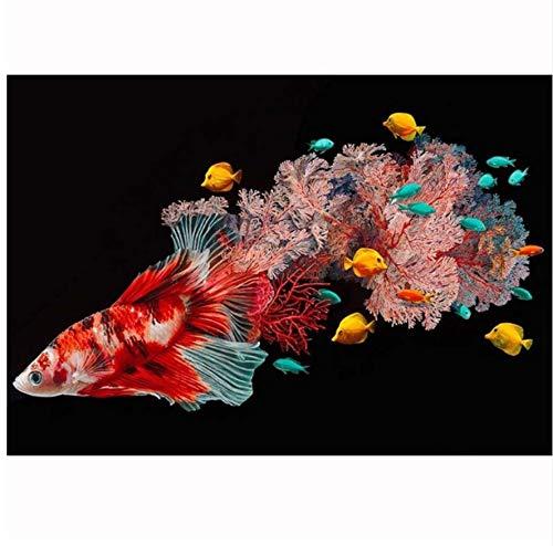 GIZIGI ダイヤモンドペインティング フルラウンド 魚 モザイク 5D DIY ダイヤモンドペインティング 動物 美しい魚 クロスステッチ 刺繍 ホームデコレーション 40X50 cm フレームレス B07PKRBR5K
