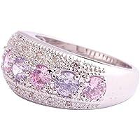 lertchai Pink & White Topaz Tourmaline Gemstone Silver Ring Size 6 7 8 9 10 11 12 13 Gift (7)
