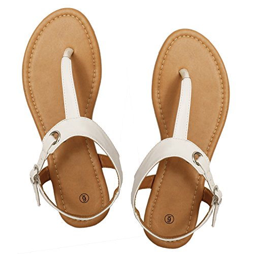 f0b7c53e25e87 Rekayla Flat Thong Sandals with T-Strap and Adjustable Ankle Buckle for  Women - Buy Online in Oman.
