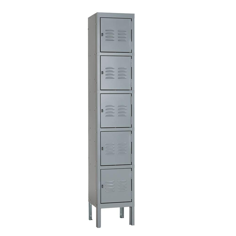 Pataku 5-Tier Metal Locker Storage Cabinet for School, Gym, Home, Office, Employees and Team Locker Rooms, 5 Doors, Gray