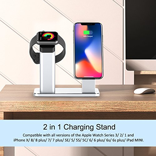 Yootech Apple Watch Stand, 2 in 1 Charging Dock Apple Watch Series 3/2/1, iPhone X/8/8Plus/7/7Plus/6s/6s Plus, Silver Aluminum Stand Holder iPhone Apple Watch(Silver) by yootech (Image #1)