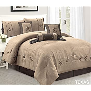 Amazon Com 5 Piece Taupe Brown Gold Bedding Rustic Texas