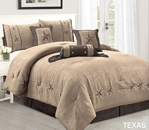 5 Piece Taupe/Brown/Gold Bedding RUSTIC TEXAS Lone Star Twin Size Comforter Set Micro Suede Western Decor Lodge Bed In A Bag