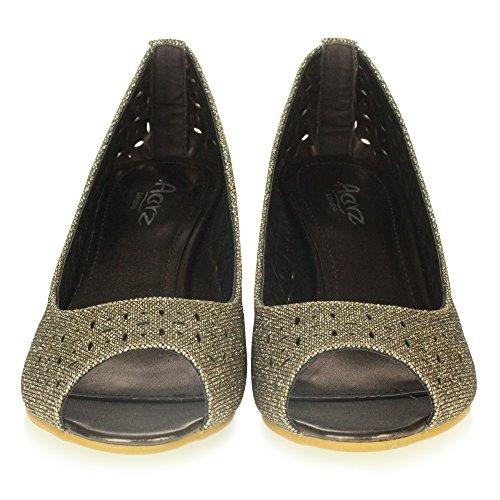 Confort Talons Enfilr Travail Chaussures Briller Peeptoe Décontractée Sandales Femmes Dames Bureau compensés Marron de Intelligent à Taille En8qBxHwpP