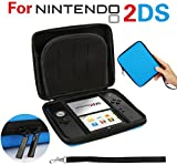 #8: GPCT Nintendo 2DS Hard Shell EVA Carry Case Cover Bag. Protects Against Bumps/Drops/Dust/Dirt/Scratches. Protective Travel Storage Cover Pouch W/ 8 Game Holders, Double Zipper Zip Pocket- Blue